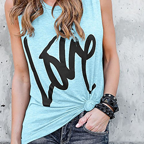 iHENGH Damen Top Bluse Bequem Lässig Mode T-Shirt Blusen Frauen Lady Fashion Soild Print Bluse Sexy Weste Fashion Ärmelloses T-Shirt(Hellblau, S)