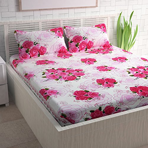 Divine Casa Magic 104 TC Cotton Double Bedsheet with 2 Pillow Covers - Floral, Pink