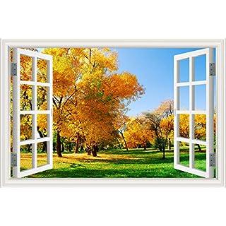 3D Wallpaper Window View Wall Sticker Autumn Tree Landscape Decal Vinyl Art 32
