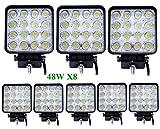 Greenmigo 8pcs 48W LED Spot Lampe de Voiture Carré 30 Degré 6500k LED Lampe de Travail Lumière pour 4x4/Cabin/Bateau/SUV/Tracteur/Auto/ATVs