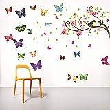 DecorVilla Vinyl Film Butterfly Tree Birds Wall Sticker for Living Room (Multicolour, 58 x 60 cm)