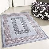 mynes Home Teppich Kurzflor Modern Versace Design Rosa Grau Pastell Wohnzimmer Designer Design Teppiche (200 x 290 cm)