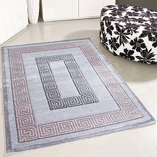 mynes Home Teppich Kurzflor Modern Versace Design Rosa Grau Pastell Wohnzimmer Designer Design Teppiche (200 x 290 cm) - 2 Moderne Teppich-kollektion