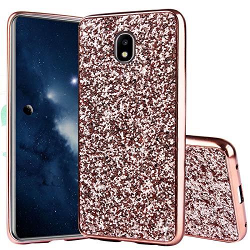 Luxus Glitzer Hülle für Galaxy J7 2017 Rose Gold, Misstars Bling Sterne Pailletten Hart PC + Weiche TPU Rahmen Handyhülle Anti-Rutsch Kratzfest Schutzhülle für Samsung Galaxy J7 2017 SM-J730F