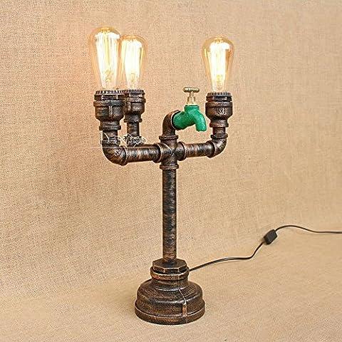 XCH Dazzling DL Lampe de table Vintage Industrial Wrought Iron Lampes de table en métal E27 Edison Water Pipe Table Lights Lampes de bureau rustiques Steampunk pour salon Cafe Bar Décoration intérieure