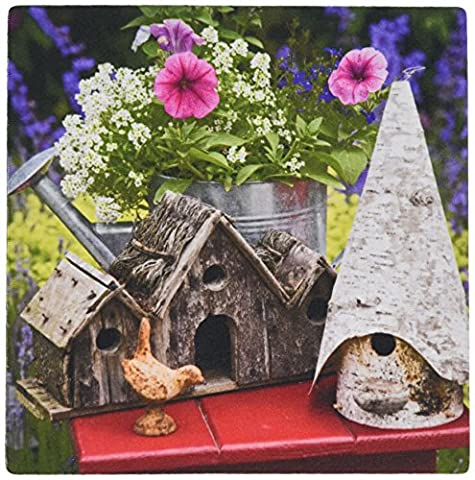 3dRose LLC 8 x 8 x 0.25 Bird Houses and Planter on Garden Table Jaynes Gallery Mouse Pad (mp_83360_1)