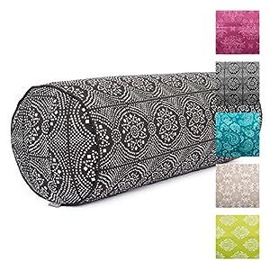 """Yoga-Bolster""""Maharaja Collection"""", Dinkel-Füllung, Bezug aus 100% Baumwolle (Köper), abnehmbar, 65 cm, 23 cm Durchmesser"""