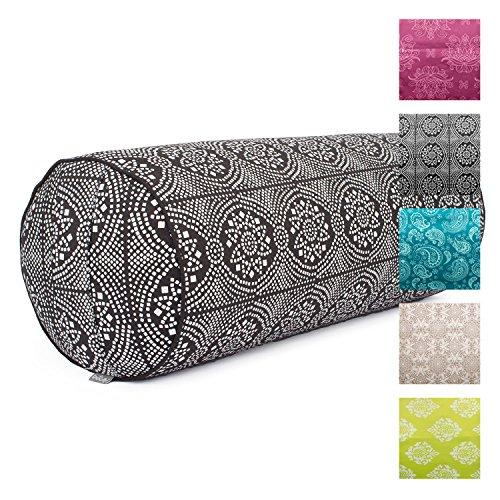 Traversin de yoga « Collection Maharaja » -Rembourrage d'épeautre-Housse 100 % coton (sergé), amovible-65cm, 23cm de diamètre