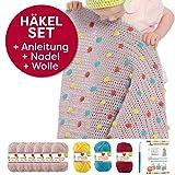 Myboshi Häkel-Set Babydecke mit Pünktchen 64cm x 67cm: 8 x Wolle Lieblingsfarben No.2 + Häkelanleitung + Häkelnadel + selfmade Label Wollfarben (Hautfarbe Löwenzahn Chillirot Aquamarin)