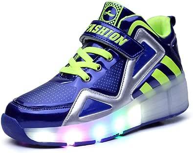Lovelysi Unisex Jungen M/ädchen LED Licht Skateboardschuhe mit Rollen Drucktaste Einstellbare Rollerblades,USB Wiederaufladbar,Inline Skates,Outdoor Sport Gymnastik Running Sneaker