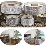 LS-Design 2X Duftkerze Kerzen-Set Windlicht Flammschale Vintage Braun Kerzentopf rund Citronella