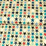 Baumwolljersey maritim Sterne beige Modestoffe Kinderstoffe