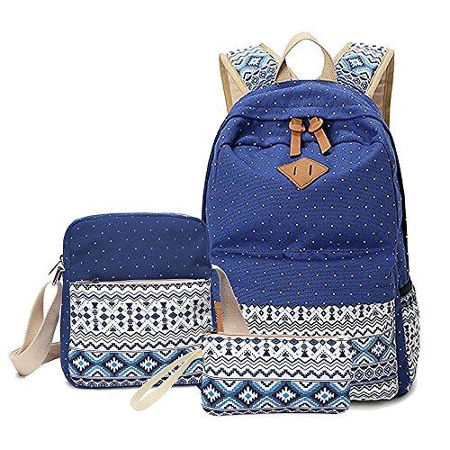 Schulrucksack Canvas Rucksack Schulrucksäcke Damen Kinderrucksack Mädchen Schultaschen Rucksäcke Schultasche Teenager Kuriertaschen Handtasche Brieftasche backpack Saphir(3 PCS)