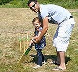 Garden Games Wooden Junior Cricket Set -Size 3 Junior Cricket Bat, Wooden Stumps, Ball With A Carry Bag
