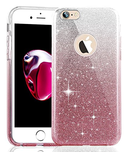 Coque Housse Etui pour iPhone 7/iPhone 8, iPhone 7/8 d'or Coque en Silicone Placage Coque Clair Ultra-Mince Etui Housse Glitter Paillette,iPhone 7 Silicone Case Gold Slim Soft Gel Cover with Diamond,  Triple Glitter-Gradient poudre