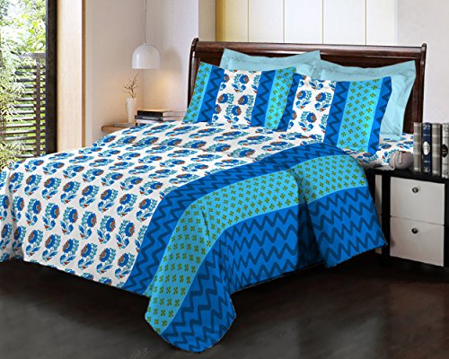 Bombay Dyeing Fair Mist Printed Double Bedsheet - DSN-4 - Poly cotton - 254 cm x 229 cm - Blue & White  available at amazon for Rs.699