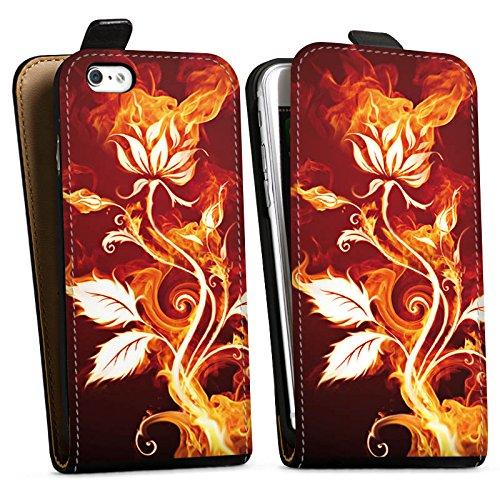 Apple iPhone X Silikon Hülle Case Schutzhülle Rose Feuer Blume Downflip Tasche schwarz