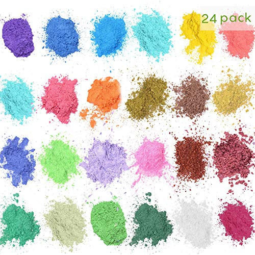 Mica Powder Pigments - 24 colores 5g, Natural Color Pigmento Mica Polvo Maquillaje Tinte Set, Para Bombas de Baño Jabón Making Colorant Set
