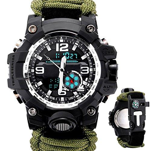Etows orologio uomo sport militare orologio sportivo orologio con bracciale//fischietto di sopravvivenza fire starter/raschietto/bussola e termometro 6in 1