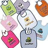 Wolimbo Baby Lätzchen mit Ihrem Wunsch-Namen und Wunsch-Motiv - Lätzchen zum Binden oder Lätzchen mit Ärmel - Das individuelle Frottee Lätzchen für Mädchen und Jungs