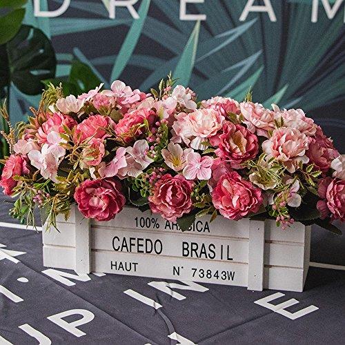 n des Hölzernen Blumenkastens Rosa-37 des Hölzernen Zauns Kreatives DIY Hochzeitsfestküchenhotelausgangsdekoration Sehr Realistisches Blumenarrangement ()