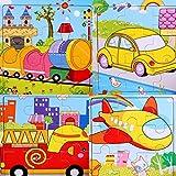 SIPLIV puzzle di legno 9-pezzi di puzzle da 2 a 5 anni i bambini, insieme di 4, Trasporti