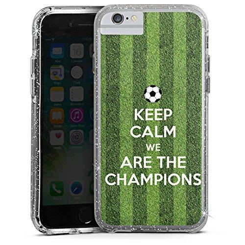 Apple iPhone 6s Bumper Hülle Bumper Case Glitzer Hülle Fussball Football Champions Bumper Case Glitzer silber