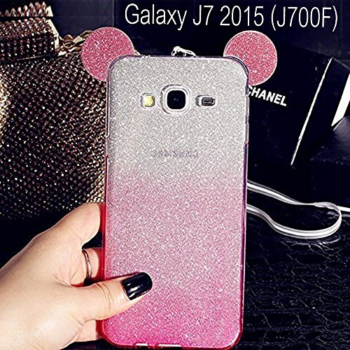 KC Girls Cute Ears Gradient Glitter 2 in 1 Transparent Soft Case Back Cover for Samsung Galaxy J7 2015 - (J700F, Pink)