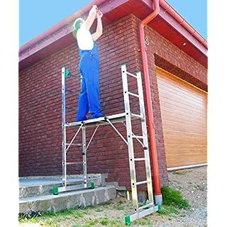 Leiter Gerüst 2x7 Plattform Alu Podest Arbeitsbühne Montagetisch Treppenfunktion