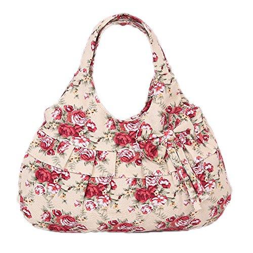 DELEY Frauen Leinwand Bowknot Rüschen Floral Gedruckt Tote Handtasche Umhängetasche Einkaufen Tasche Rot Blume