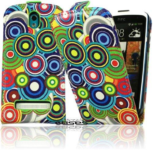 Design Flip Case Tasche mit Circle Motiv für das HTC Desire 500 Cover Schutzhülle in bunt