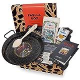 Paella-Box Nr. 1 mit Paella-Pfanne, Reis, Gewürzmischung mit Safran, Löffel & Rezept (5-teilig) - geschenkfertig in Geschenk-Box geliefert