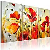 murando handgemalte Bilder Blumen Mohn 120x80cm Gemälde 3 tlg rot beige 22035