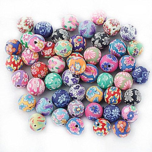 MagiDeal 50stk. Perlen Kugel Blumen Perlen Beads Polymer Clay Beads 10mm