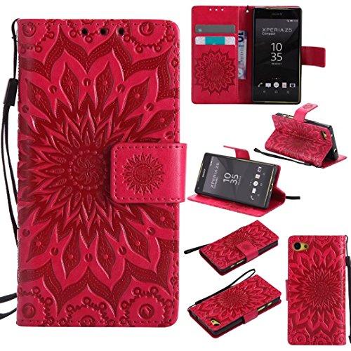COWX Sony Xperia Z5 compact / Z5 mini Hülle Kunstleder Tasche Flip im Bookstyle Klapphülle mit Weiche Silikon Handyhalter PU Lederhülle für Sony Xperia Z5 compact / Z5 mini Tasche Brieftasche Schutzhülle für Sony Xperia Z5 compact / Z5 mini schutzhülle
