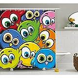 H&S Lustige Duschvorhang, Cartoon Fett Chubby Vögel Baby Kinder Kindergarten Spielzimmer kindisch Tier Zeichen gedruckt, Stoff Badezimmer eingerichtet mit Haken, Multicolor 72
