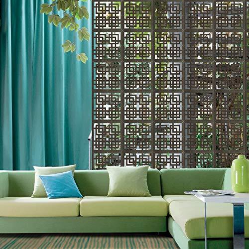 Y-Step 9 Stück Holz hängende Raumteiler Screen Hängepaneel für Bettwäsche, Abendessen, Arbeitszimmer, Hotel, Büro, Bar Dekoration Ebenholz