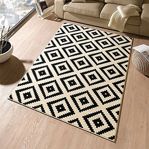 designer-tapis-en-velours-noir-creme-102332-losange-120-x-170-cm