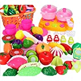 LoKauf Pretend Cutting Play Toy 48Pcs Large Upgraded Kitchen Vegetable Portable Basket Pretend Play Cutting Toy - Color Random