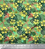 Soimoi Vert Poly Georgette en Tissu Triangle, Floral et Monstera Feuilles Tissu Imprime Metre 42 Pouce Large