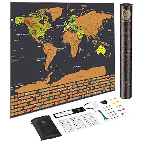 (Scratch Off Karte der Welt, mit uns Staaten und Country Flaggen, Weltkarte inkl. Flaggen/Karte Push Pins/Kratzbaum/Memory Aufkleber, Deluxe Travel Map von cosbity)