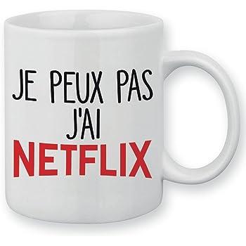 Chamalow Shop Mug Je peux pas j'ai Netflix séries addict, geek