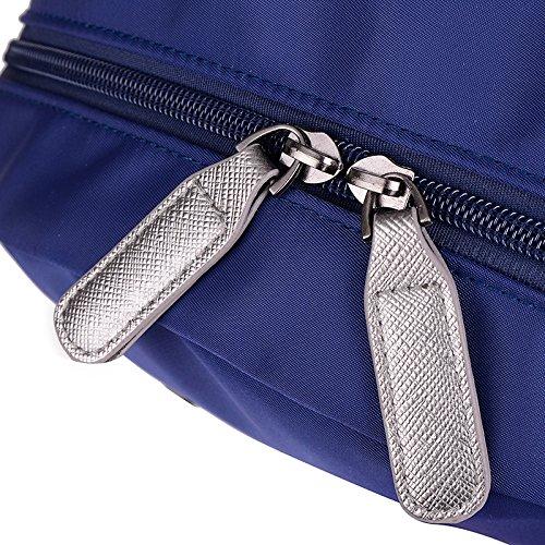 LINGE-Zaino da viaggio zaino piccolo Casual Nylon tela donna , black Blue
