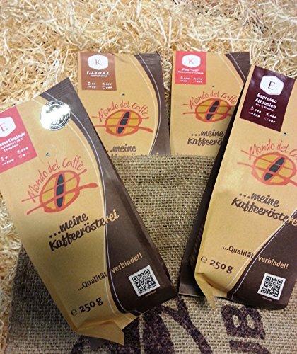 """Geschenkpaket Mondo del Caffè """"Kaffeereise"""" (4* 250g Spitzenkaffee)"""