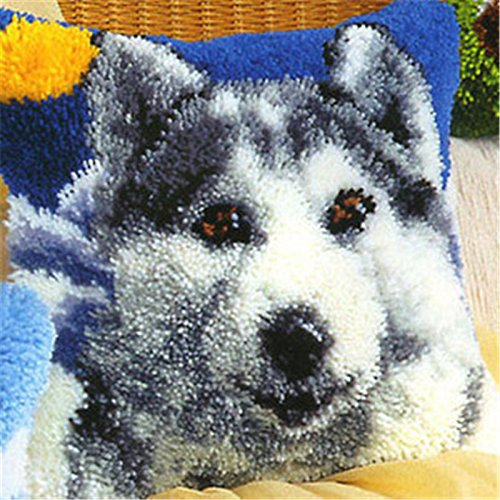 16-zoll-modell-kit (16 Modell Latch Hook Kit Dog Cushion Cover DIY Craft Needlework Crocheting Cushion Embroidery BZ005)