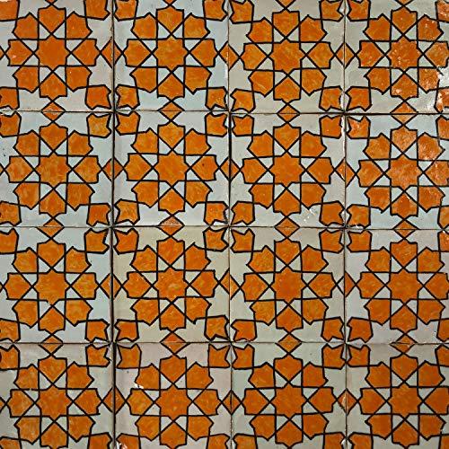 """Handbemalte marokkanische Fliese orientalische Keramik Fliese Motiv Mosaikfliese""""Elenora"""" 10 x 10 cm"""