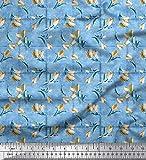 Soimoi Blau Viskose Chiffon Stoff überprüfen, Blätter &