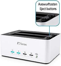 """FANTEC AluDOCK 2X 2-fach Docking- und HDD Klonstation, 2,5"""" und 3,5"""" SATA I/II/III HDDs und SSD, Kapazität für 2x10TB und mehr, USB 3.0 SUPERSPEED, 1:1 Kopierfunktion, Aluminium Gehäuse silber"""