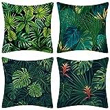 JOTOM Housse de Coussin Coton Lin Méditerranéen Artiste Cactus Plante Motif Taie d'oreiller pour Canapé Maison Salon Chambre Décoration D'intérieur,45x45cm,Ensemble de 4 pièces (Feuille Verte A)