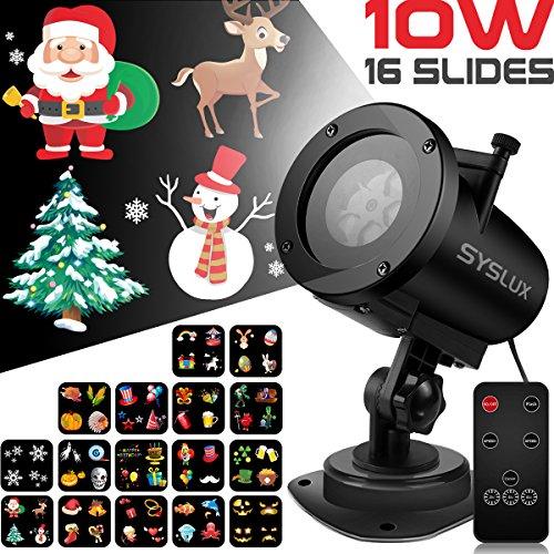Syslux Weihnachtsprojektor Lichter, LED Projektionslampe mit 16 Wechselbaren Musters und Fernbedienung,IP65 wasserdichte für Weihnachten/Hochzeit/Party/Garten/ Haus Nacht (Control-bild-licht Remote)